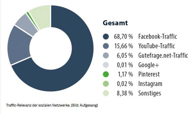 Traffic Relevanz nach Social Media Quelle in Prozent im Durchschnitt.