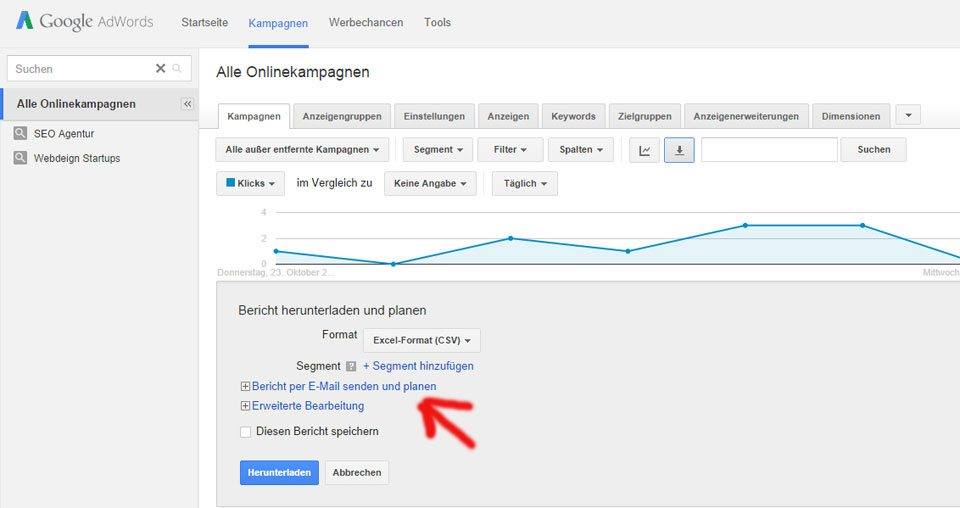 Google AdWords Berichte per Mail