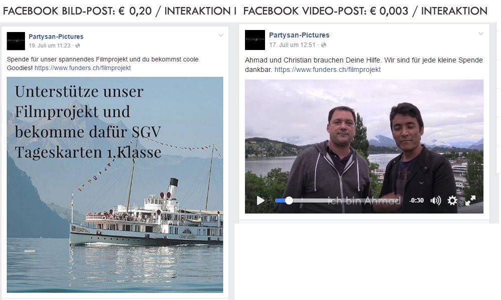 Facebook Werbung Kosten Vergleich Video Text Bild
