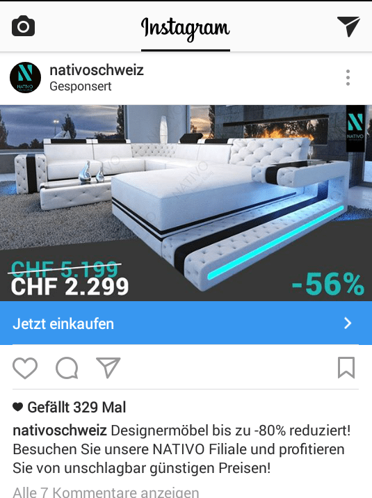 Online Marketing Partner Luzern Instagram Werbe Post