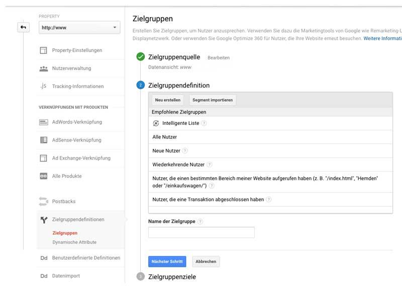 google remarketing / retargeting anleitung einstellung zielgruppe