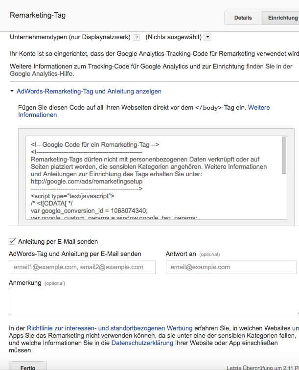 google remarketing / retargeting anleitung remarketing tag