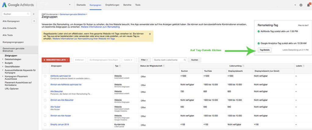 google remarketing / retargeting anleitung einstellung adwords