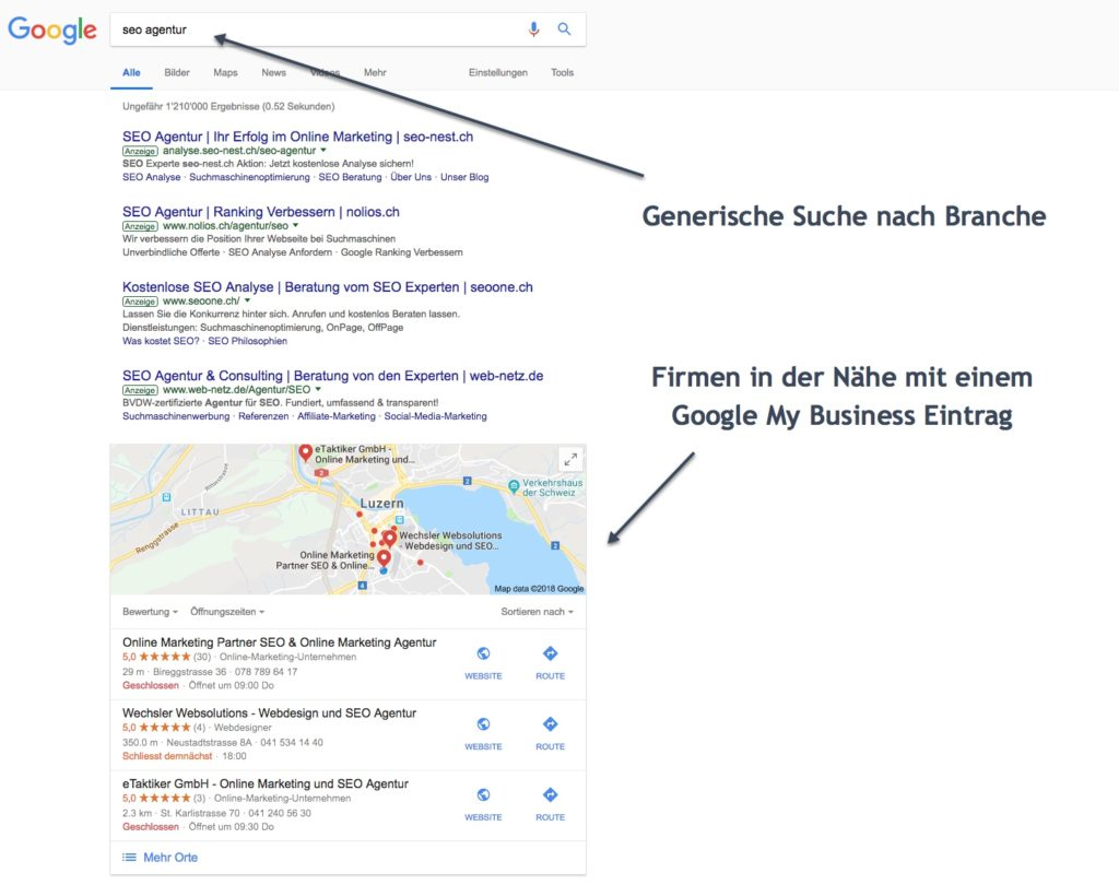 lokales SEO Google My Business Google Maps seo agentur luzern