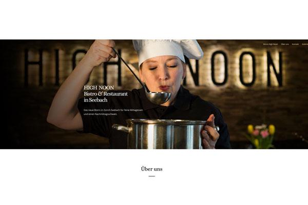 Webdesign und Fotografie für Bistro High Noon Zürich